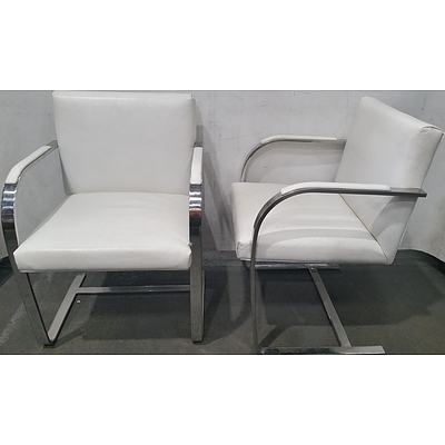Pair of Replica Mies Van Der Rohe Brno Leather and Chrome Steel Cantilever Chairs