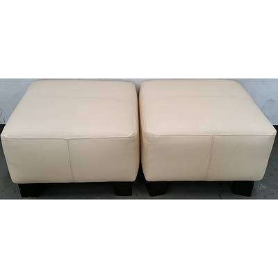 Cream Ottomans - Lot of Two