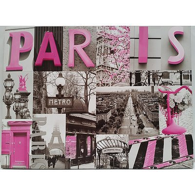Stretched Canvas Photographic Montage of Paris Street Scenes