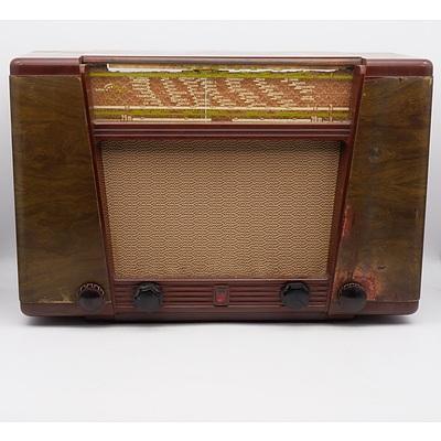 Bakelite Cased Philips Model EX 400 A Valve Radio