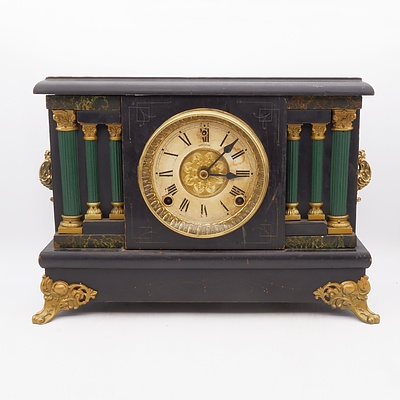 Welch Painted Timber Mantle Clock with Column and Faux Marble Detailing
