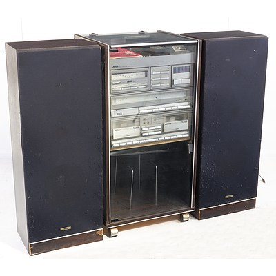 AWA SM34 Turntable with Mobile Cabinet and Speakers