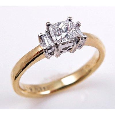 Princess-cut Diamond Ring - 18ct Gold