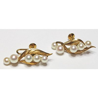 Cultured Pearl Gold Earrings