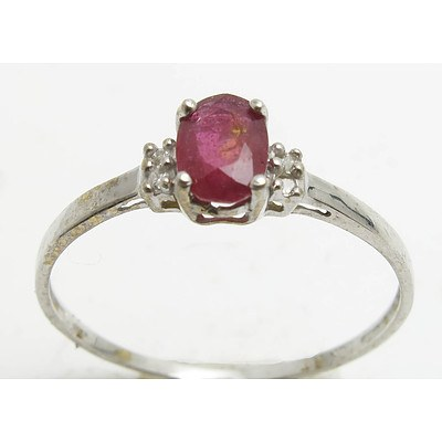 10ct White Gold Ruby & Diamond Ring
