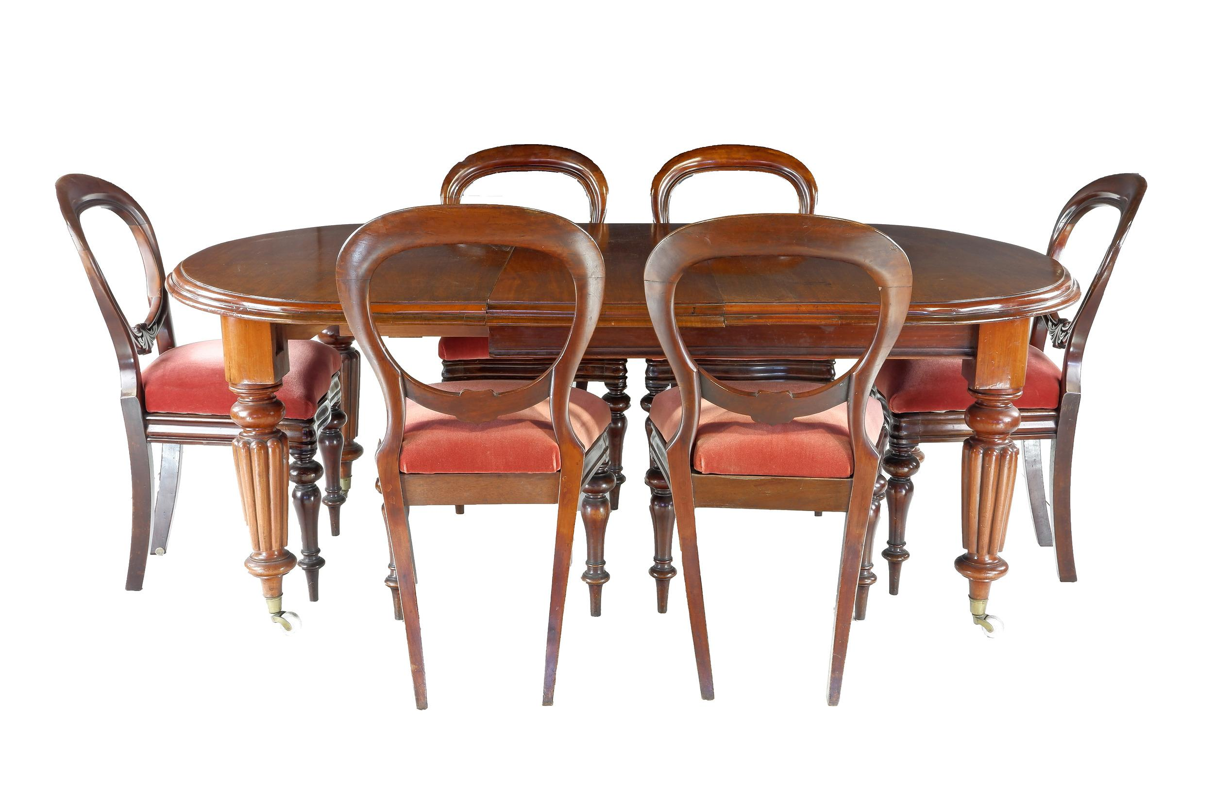 'Victorian Mahogany Fluted Leg Extension Dining Table and Six Ballon Back Chairs Circa 1880'