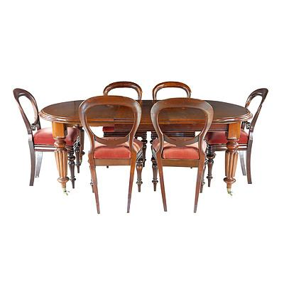 Victorian Mahogany Fluted Leg Extension Dining Table and Six Ballon Back Chairs Circa 1880