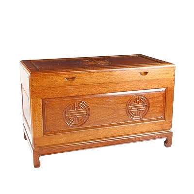 Vintage Chinese Camphorwood Chest with Relief Carved Shou Longevity Characters