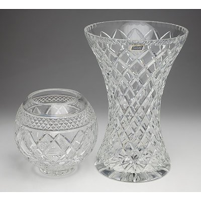 Large Violetta Cut Crystal Vase and Another Cut Crystal Vase