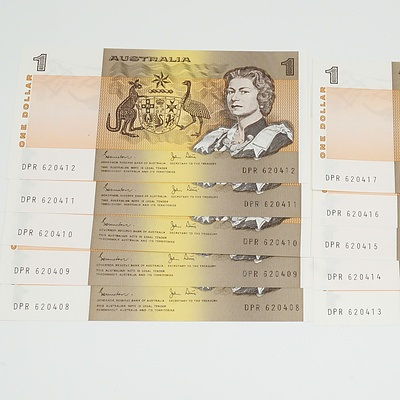 Ten Consecutive Serial Number Johnston/Stone One Dollar Notes DPR 620408-DPR 620417