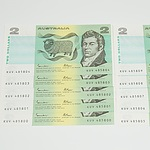 Ten Consecutive Serial Number Johnston/Fraser Two Dollar Notes KUV 485800-KUV 485809