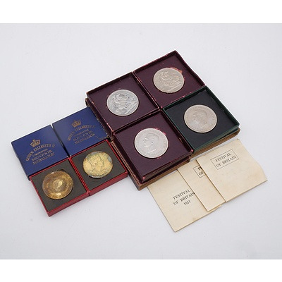 Group of Six Coins Including George VI 1951 Five Shillings and Queen Elizabeth II Coronation Souvenir Medallion