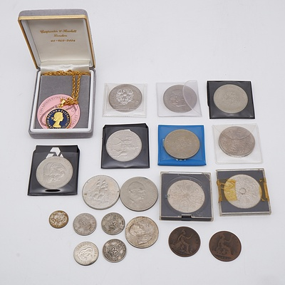 Group of Coins Including Gratia Regina and Elizabeth II Two Shillings Necklace, HMAV Bounty 1789-1989 1 Dollar and More