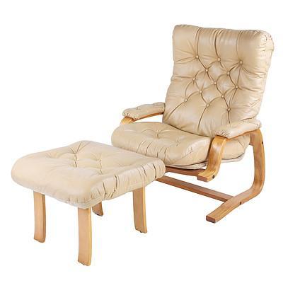 Module International Retro Beige Leather Armchair with Footrest