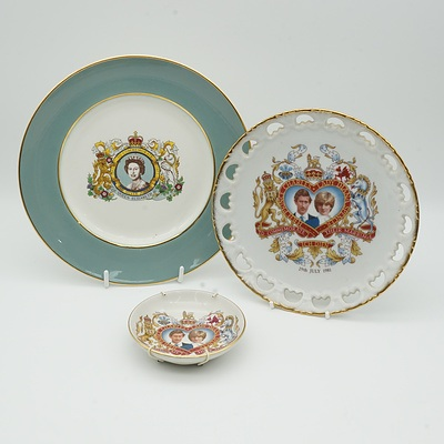 Three British Royality Commemorative Dishes, Including Bridgwood, Westminster and Enoch Wedgwood