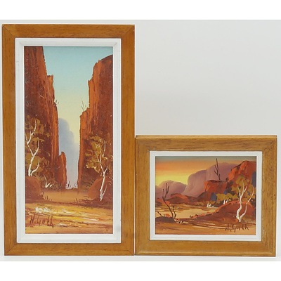 Henk Guth (1921-2003) Two Artworks, The Entrance to Stanley Chasm and MacDonnell Ranges, Both Oil on Board