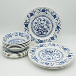 Enoch Wedgwood Blue Heritage Pattern Three Piece Dinner Service for Four