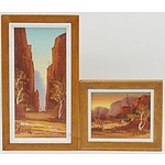 Two Henk Guth (1921-2003) The Entrance to Stanley Chasm and MacDonnell Ranges Oil on Board