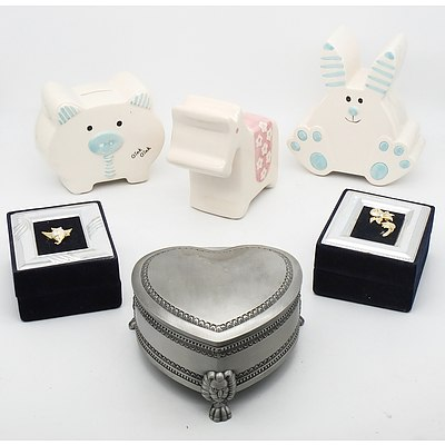 Large Group Lot of Assorted Money, Jewelry and Trinket Boxes