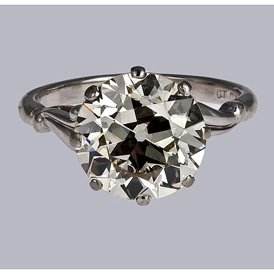 An Exceptional 18ct Palladium White Gold and 3.10ct Old European Cut Diamond Solitaire Ring
