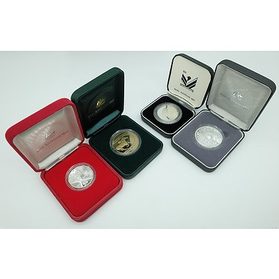 Four Proof Coins Including Five Dollar Phar Lap 70th Anniversery, Ten Dollar State Series Proof Coin and Two Others