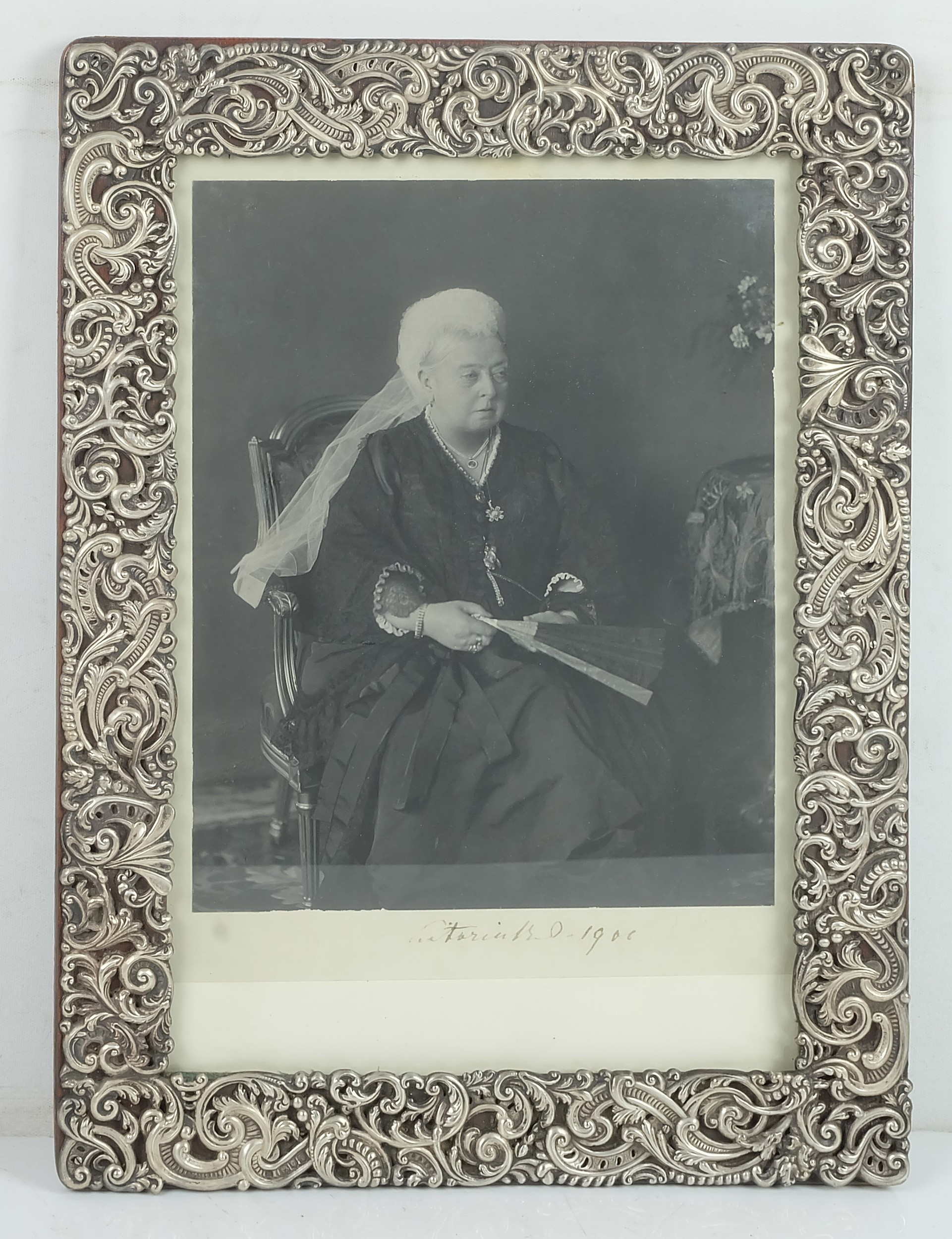 'Sterling Silver Framed Signed Photograph of Queen Victoria 1900 Charles Henry Dumenil London 1897'