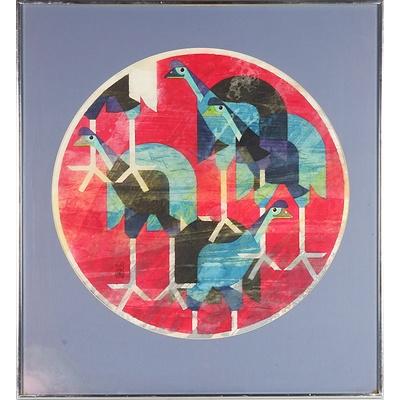 Cornel Swen (1930-) Cassowaries, Dye on Washi Paper