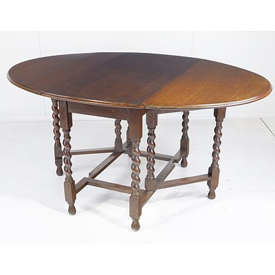 Edwardian Oak Drop Side Table with Barley Twist Supports