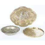 Two Antique Chinese Brass Trays and Dish