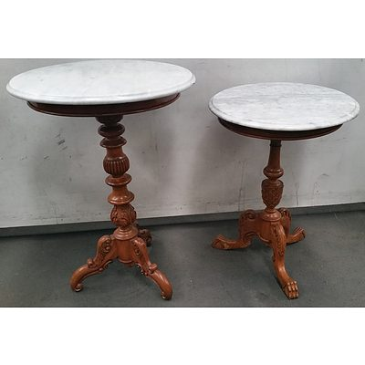 Marble Top Occasional Tables - Lot of Two