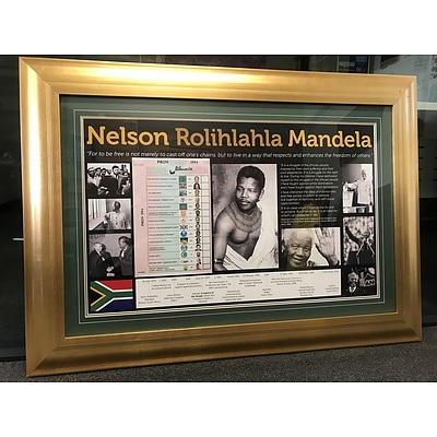 Nelson Mandela - personally signed voting card from the 1994 South African election when he was elected President of the Republic of South Africa, beautifully framed with photos of Mandela's life.