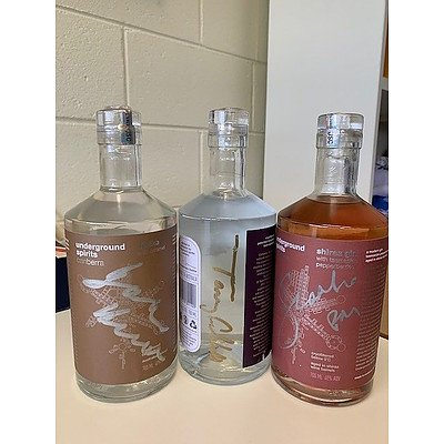 3 Bottles of Underground Spirits signed by Three Liberal Prime Ministers