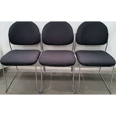 Contemporary Sled Base Occasional Chairs - Lot of Three
