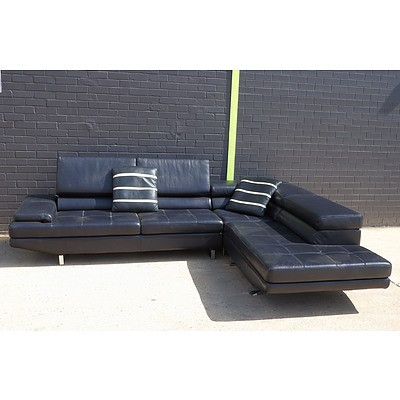 Large Golf Leather 'L' Shaped Lounge