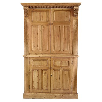 Large American Pine Armoire With Carved Cornice and Scroll Form Corbels