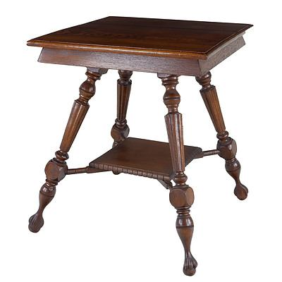 American American Oak Lamp Table Circa 1920's