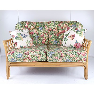 Vintage Cane Three Piece Lounge Suite with Floral Fabric Upholstery
