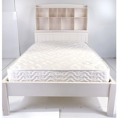 Bedroom Furniture Suite, Including Single White Bed with Storage, Console Table, and Hanger
