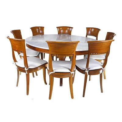 Dutch East Indies Style Solid Teak Eight Person Marble Top Dining Suite