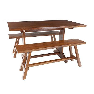 Teak Kitchen Table and Two Bench Seats