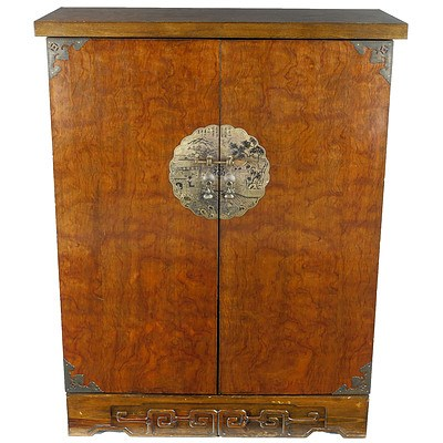 Small Chinese Metal Bound Liquor Cabinet