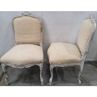 Pair of Vintage French Louis Style Lime Painted Carved Beech Side Chairs
