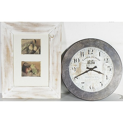 Group of Offset Prints Including Emilie Vouga (1840-1909) and Frans Mortelmans, A Map of the Marshal Islands and a Vintage Style Wall Clock