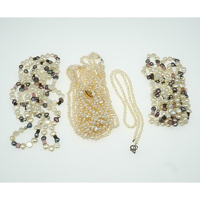Various Freshwater Pearl Necklaces