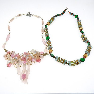 Two Fancy Coloured Glass Necklaces