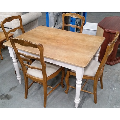 Antique Australian Kauri Pine Kitchen Table Together with Four Vintage European Carved Oak Chairs