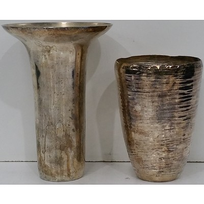 Two Silver Plated Vases