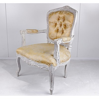 Louis XV Style Carved and Lime Painted Wood Fauteuil with Satin Brocade Upholstery, Late 20th Century