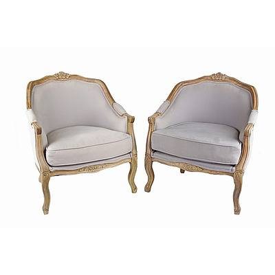 Pair of Louis XV Style Carved Beech Gondole Bergeres, Late 20th Century