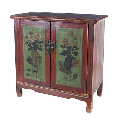 Chinese Provincial Lacquered and Polychrome Painted Pine Cabinet, Late 20th Century